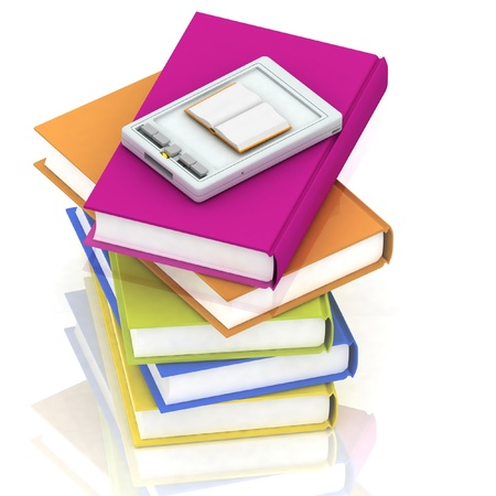 pocket pc: pocket pc and stacks of books on white background Stock Photo