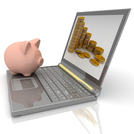 Piggy bank and laptop Stock Photo - 11946314