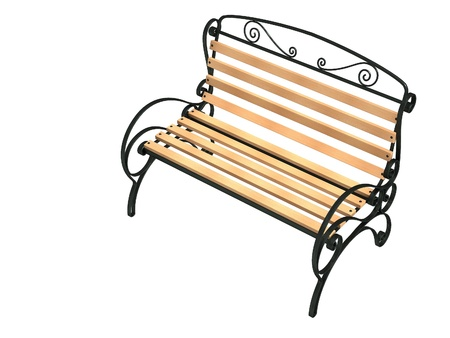 timber bench seat: Bench of garden, isolated on a white ground Stock Photo