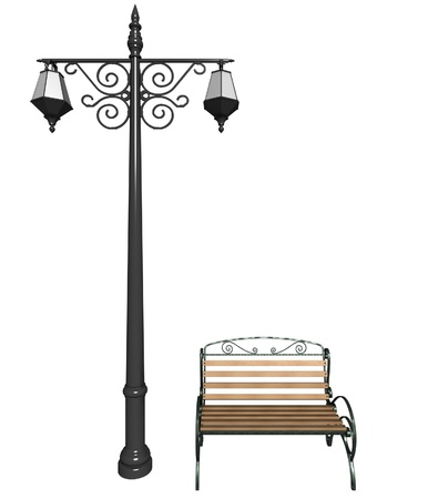 bench alone: street lantern and bench in retro style