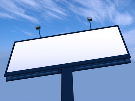 Empty billboard at sky background photo