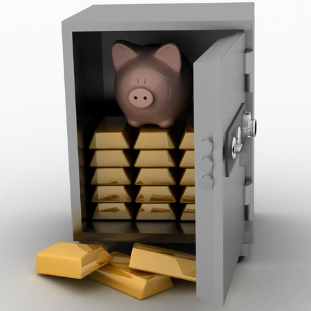 pig iron: bullions and piggy bank in a security safe