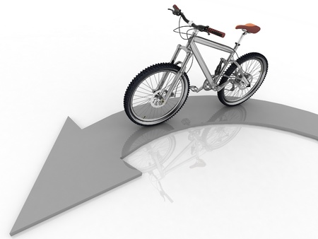 a two wheeled vehicle: pointer of direction of motion of bicycle