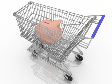 save money shopping concept with piggy bank in a shopping cart photo