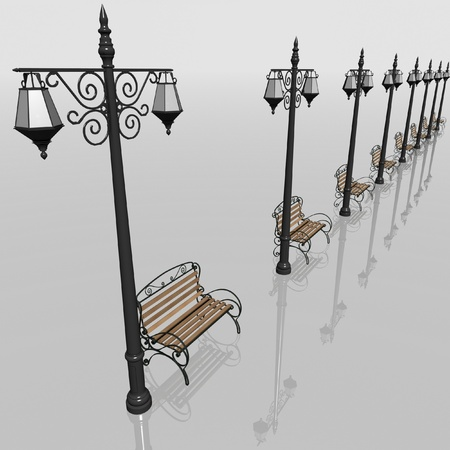 Row of lanterns and benches for municipal streets. 3d render photo