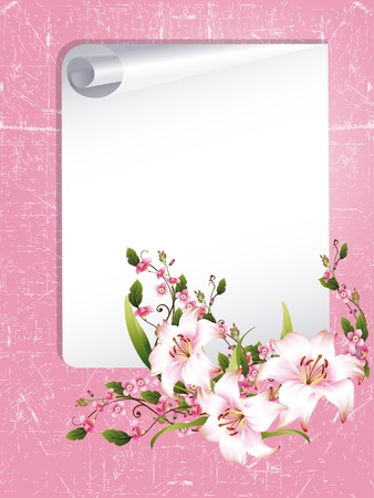 yellow photo: vector frame with beautiful flowers Illustration
