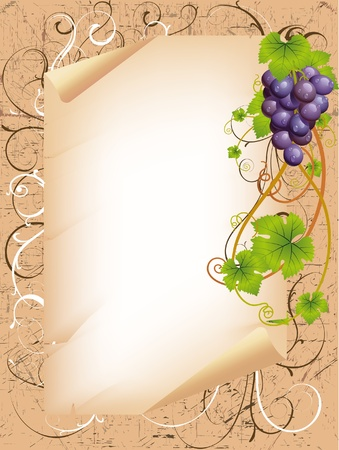 purple grapes: vector frame with vine