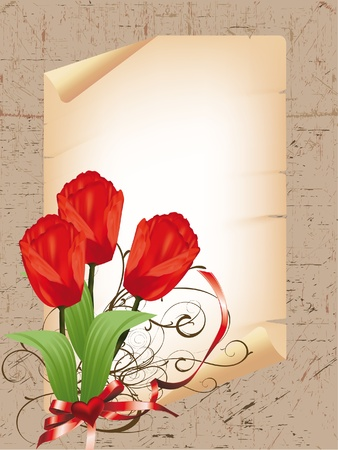 heart frame with a bouquet of red tulips Vector