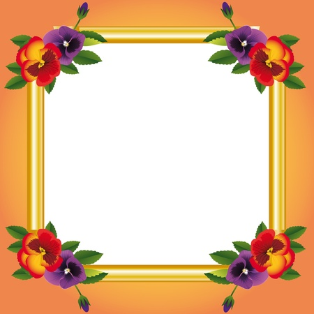 pansies: decorative frame with flower Illustration
