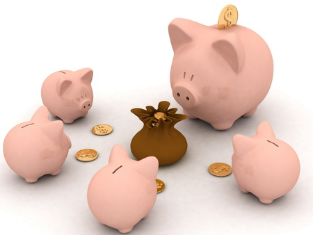 large and little piggy banks look at bag with money photo