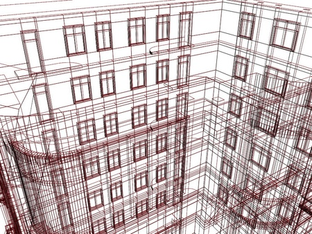 Abstract architectural draft of building photo