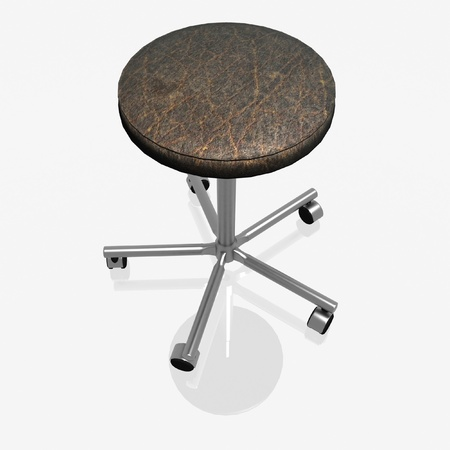 casters: 3d render of rotating chair on casters without a back Stock Photo