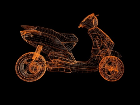 3d retro scooter bike photo