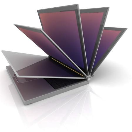 Opened laptop on white isolated background. 3d photo