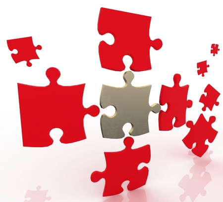 grooves: 3d color puzzle. Conception of simple decision. Stock Photo