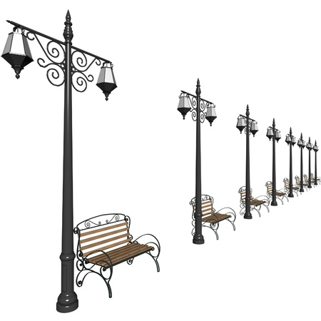 municipal: Row of lanterns and benches for municipal streets. 3d render