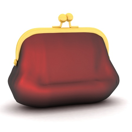 3d picture of closed purse on white background photo