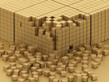 damaged assembling of gold blocks Stock Photo - 11946837