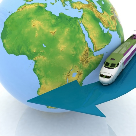 Speeding train coming out of globe photo