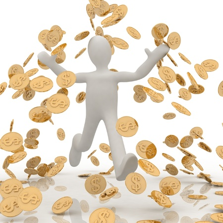 man in the rain of coins Stock Photo - 11946623