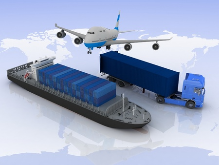 ferry: types of transport of transporting loads on a background map of the world Stock Photo