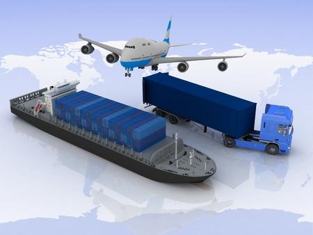 vormen van vervoer voor het vervoer van ladingen op een achtergrond kaart van de wereld