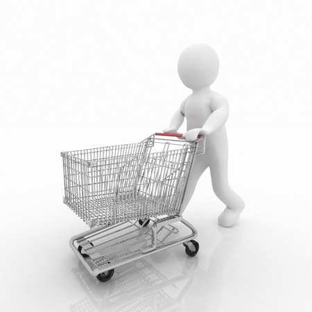 3d man rolls the shopping cart Stock Photo - 11946406