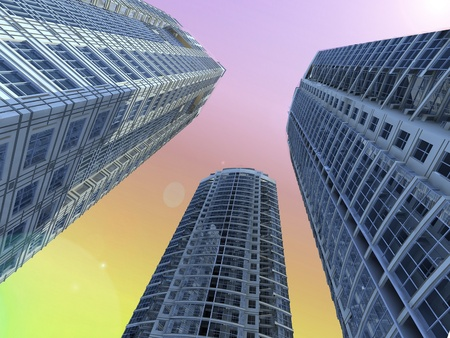 Skyscrapers.3d render. photo