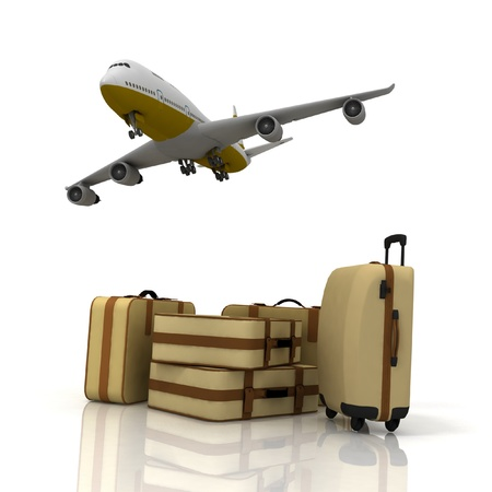 plane tickets: airliner and suitcases on white background