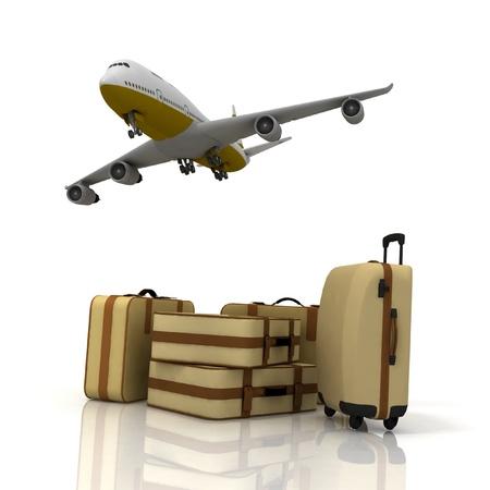 transporte: avi�n y las maletas en el fondo blanco Foto de archivo
