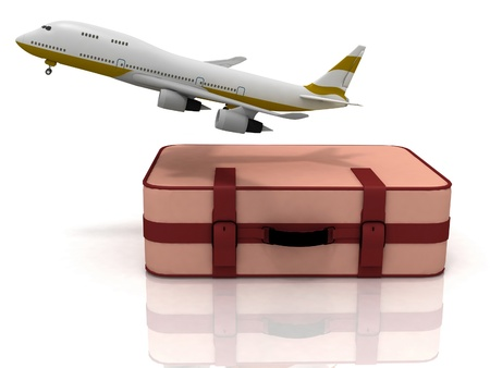 plane ticket: airliner and suitcase on white background Stock Photo