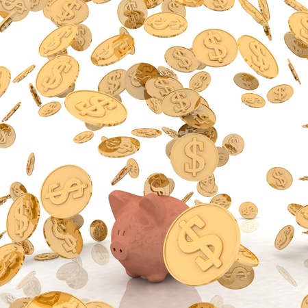 man falling: raining gold coins and piggi-bank Stock Photo