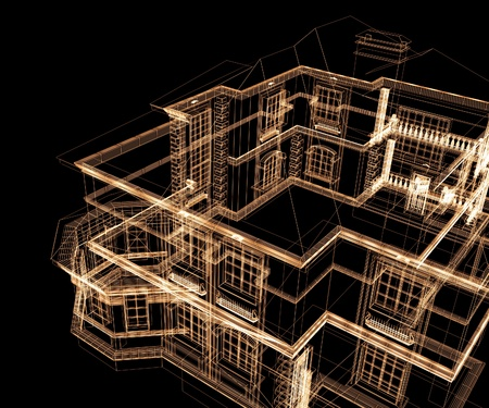 interior drawing: 3d modern architecture on a black background
