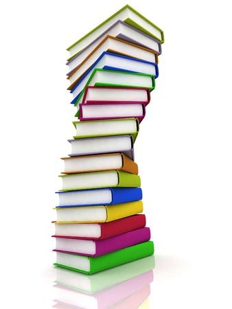 literatura: Pila de libros aislados en el fondo blanco