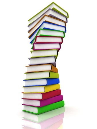 Stacks of books isolated on white background photo