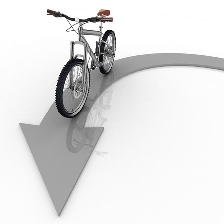 pointer of direction of motion of bicycle photo