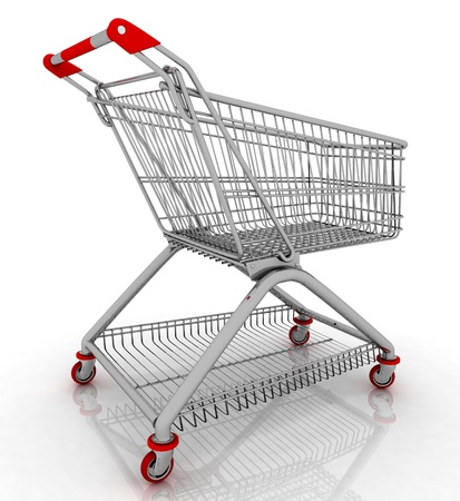 facilitated: 3d empty facilitated shopping cart isolated on white background