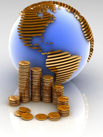 multinational: Gold globe with many gold coins Stock Photo