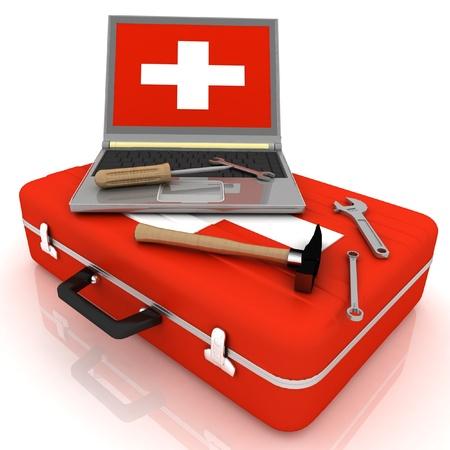 seguridad en el trabajo: ordenadores port�tiles de diagn�stico. 3d ilustraci�n Foto de archivo