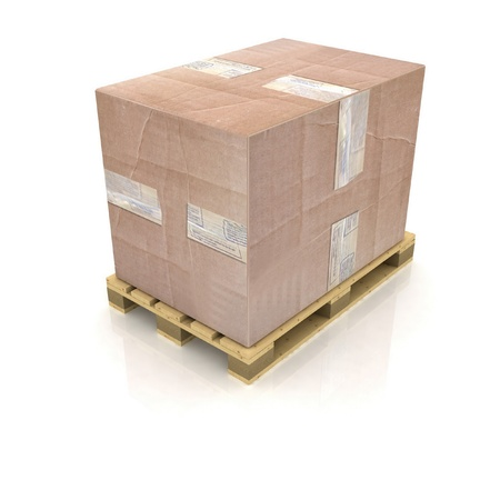 Cardboard box on wooden pallet photo