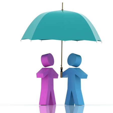 siting: two persons with umbrella on  white background