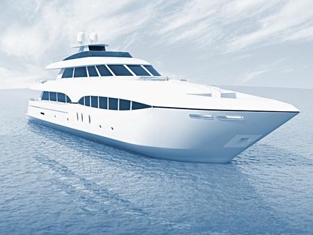 the boat on the river: yate de lujo de crucero blanco