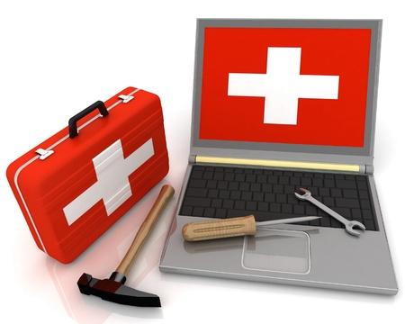 laptops diagnostic. 3d illustration illustration