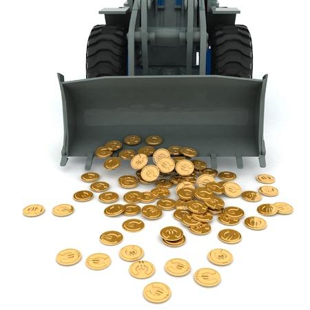 bury: bulldozer raked pile of coins over white background