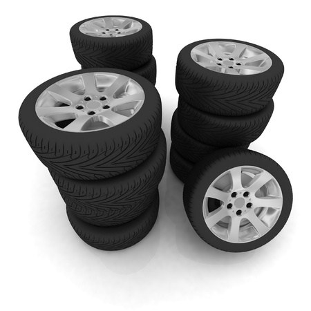 New wheels isolated on white. 3d illustration. illustration