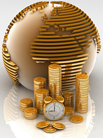 timely: Gold globe with many gold coins and clock