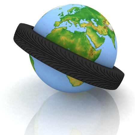 belt from a tire will give on a globe photo
