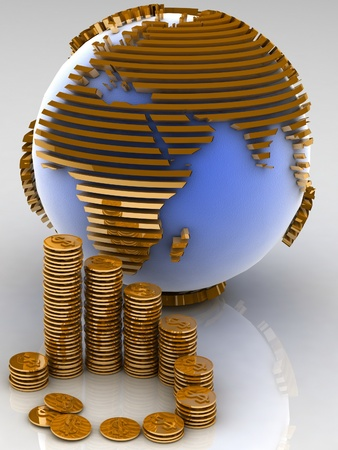 globe with many gold coins photo