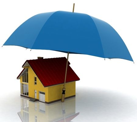 umbrella rain: conception of defence of the real estate Stock Photo
