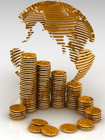 international investments: Gold globe with many gold coins Stock Photo